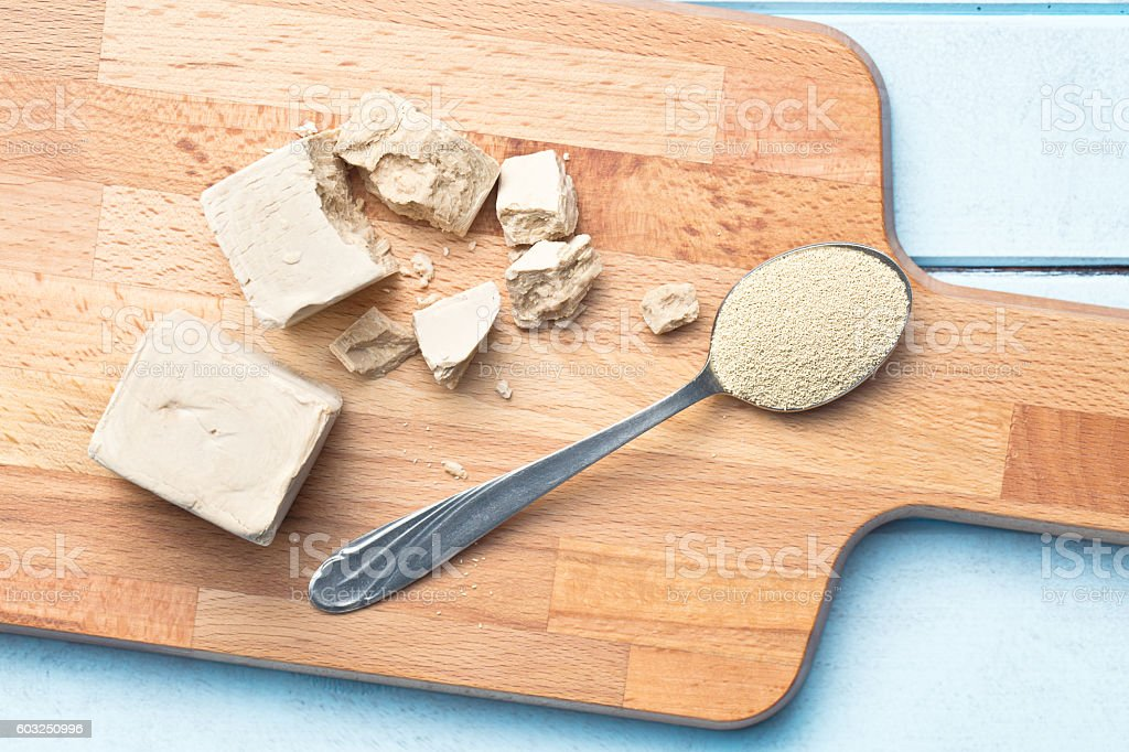 fresh and dry yeast - Foto stock royalty-free di Agente lievitante