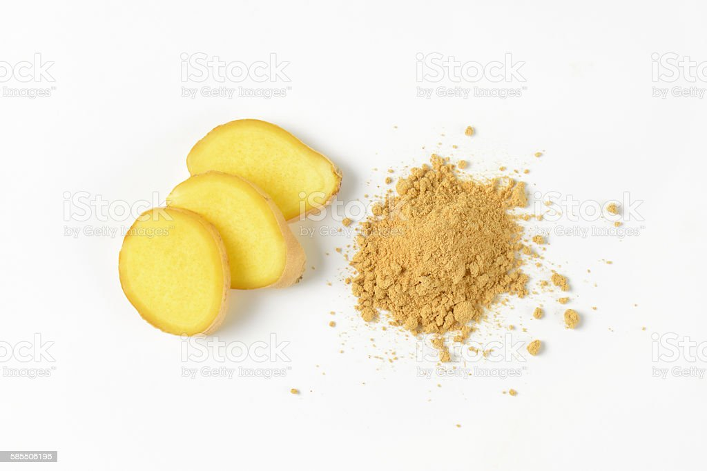 fresh and ground ginger stock photo