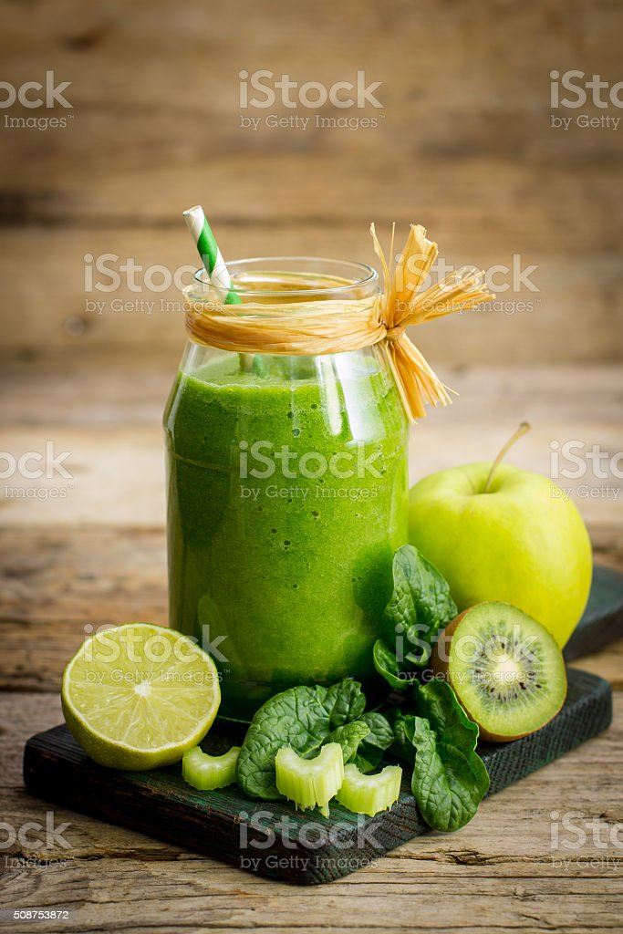 Fresh and healthy green smoothie stock photo