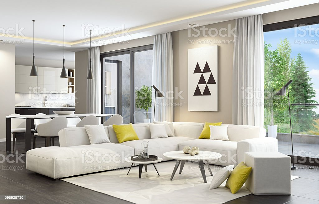 ... Fresh And Modern White Style Living Room Interior Stock Photo ...