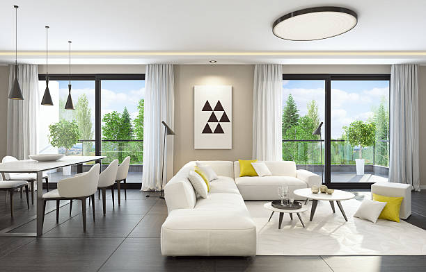 fresh and modern white style living room interior - modernes ferienhaus stock-fotos und bilder