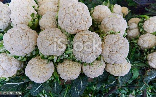 Fresh and organic cauliflower in the local market