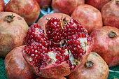Fresh and organic pomegranate in the local market