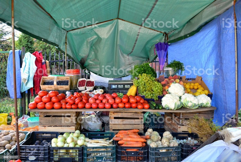 Fresh and organic vegetables at farmers market. stock photo