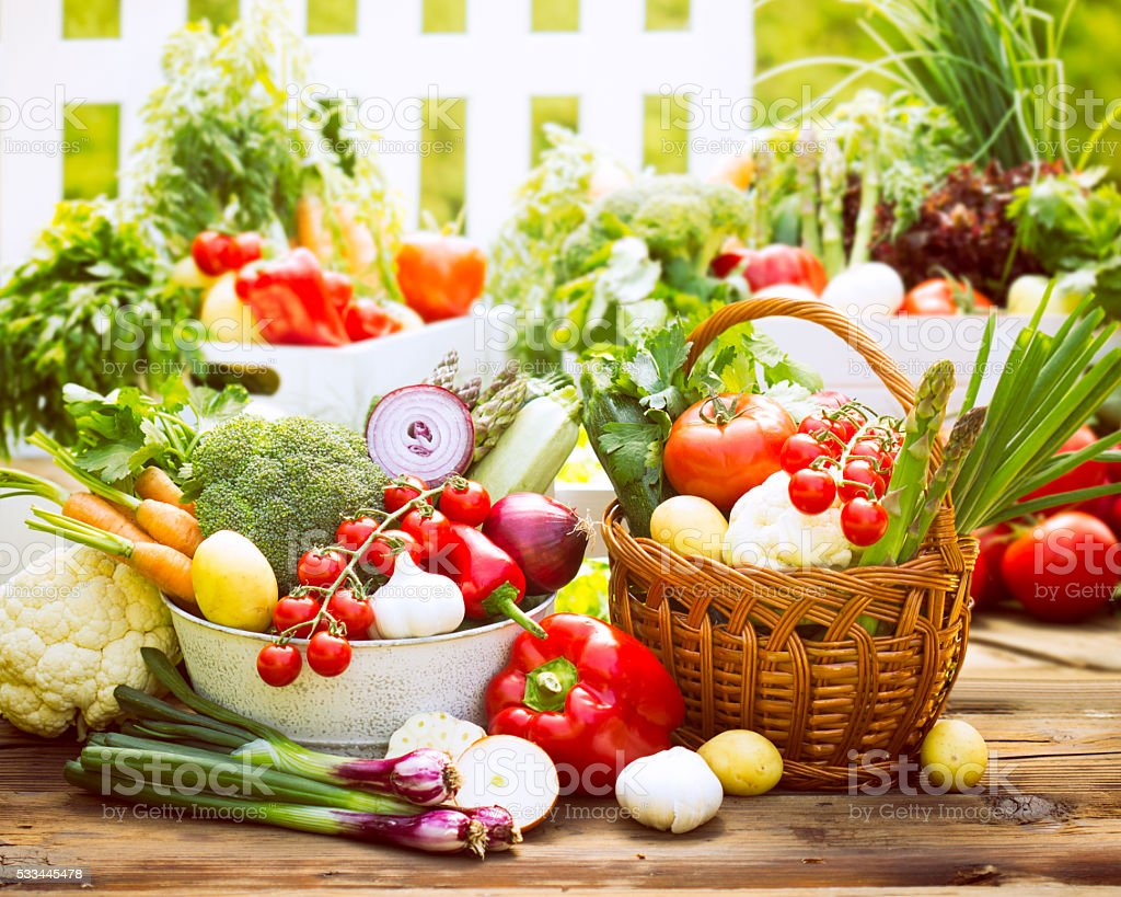 Fresh and organic vegetables stock photo