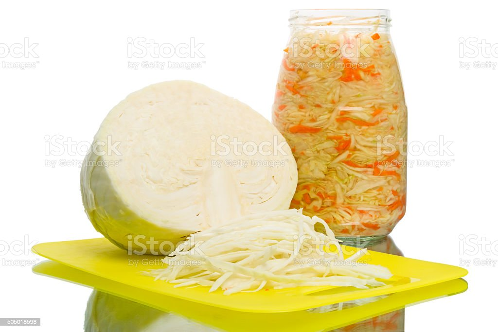 Fresh and pickled cabbage isolated on white stock photo