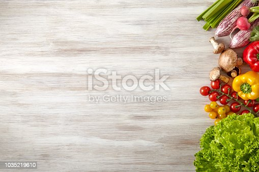 Vegetable, Fresh, Food, Kitchen Table, Copy Space,
