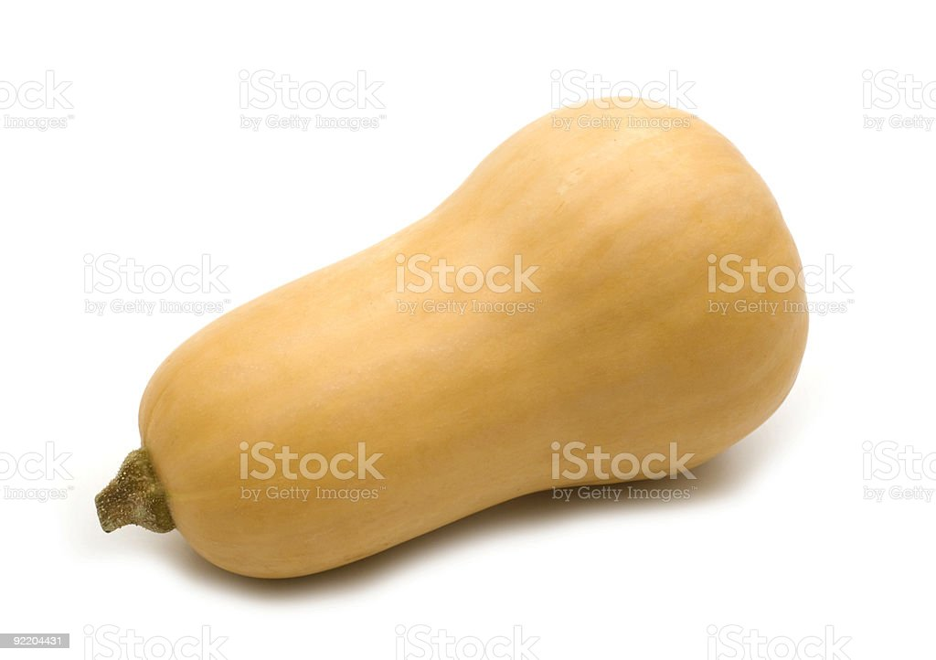 A fresh and ready butternut squash on a white background stock photo