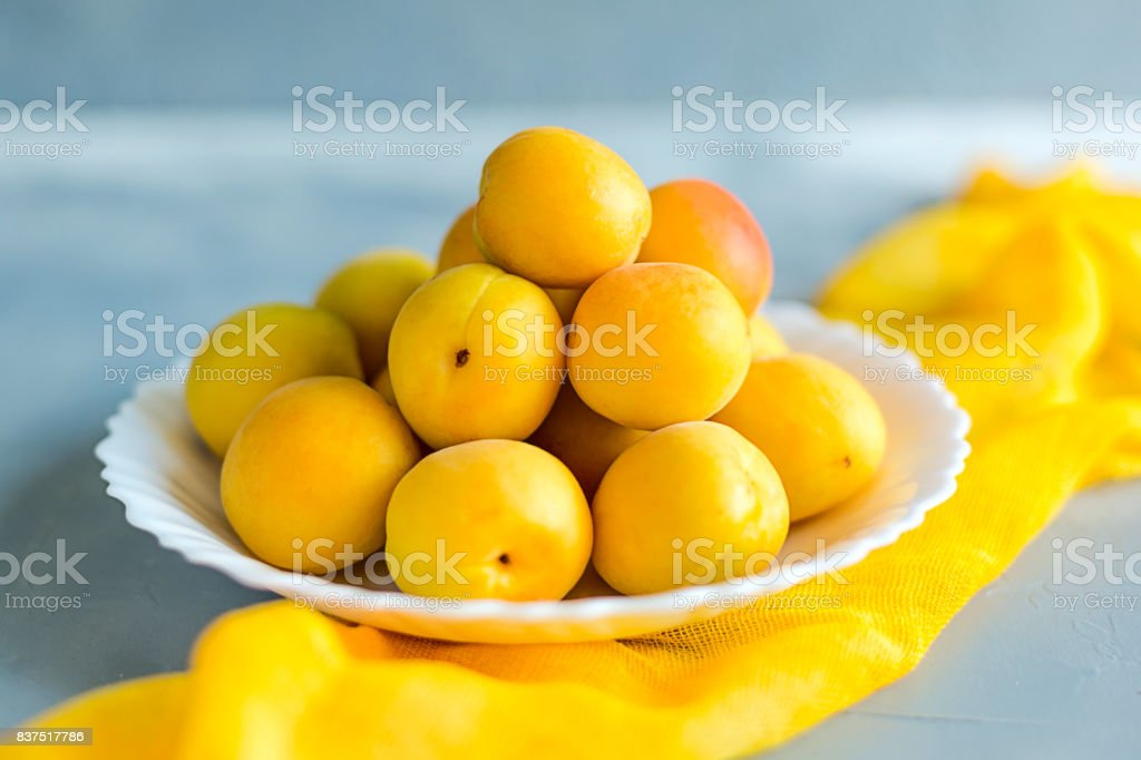 39b6f09d6c8f Fresh and ripe apricots on grey background. Season berries, summer food. -  Stock image .