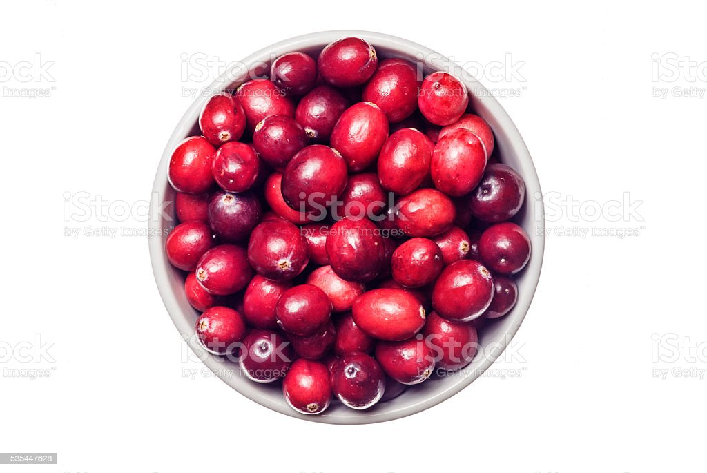 Fresh and ripe cranberry fruits on white stock photo