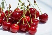 Side view of cherries in a plate on a table