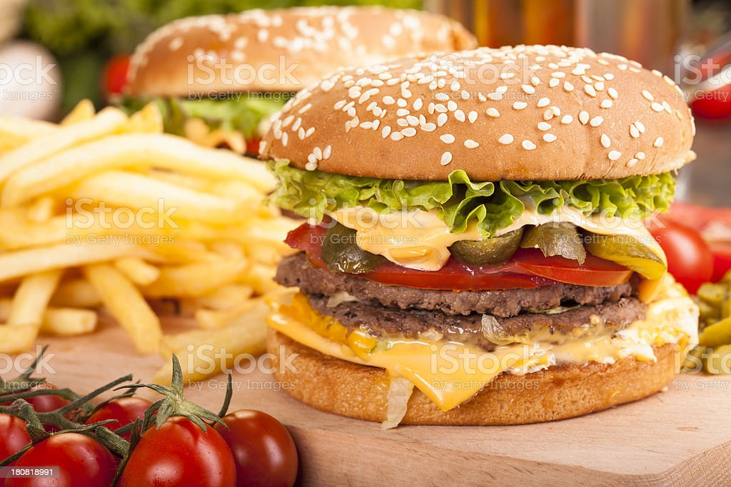 Fresh and tasty hamburger with fries royalty-free stock photo