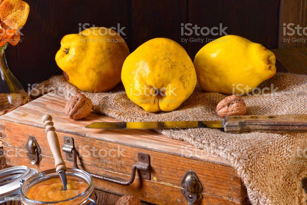 fresh and tasty Quitte (Cydonia oblonga) stock photo