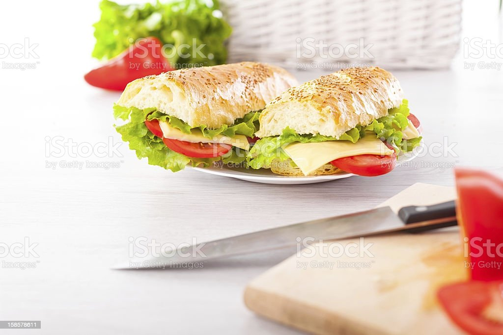 Fresh and tasty sandwiches royalty-free stock photo