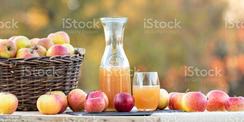 Fresh apple juice from apples in the fall after harvest, served on a table stock photo