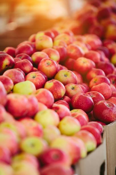 Fresh Apples at Farmers' market stock photo