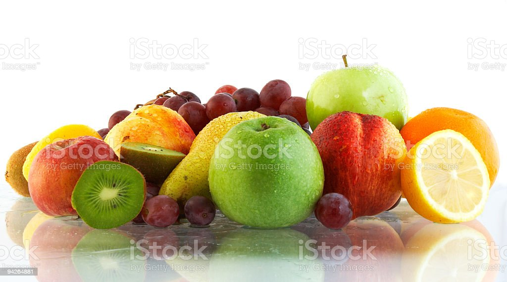 Fresh apples kiwis grapes pears and oranges royalty-free stock photo