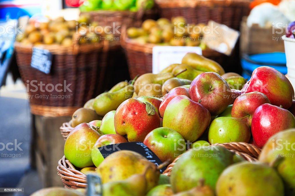 Fresh Apples on Display stock photo