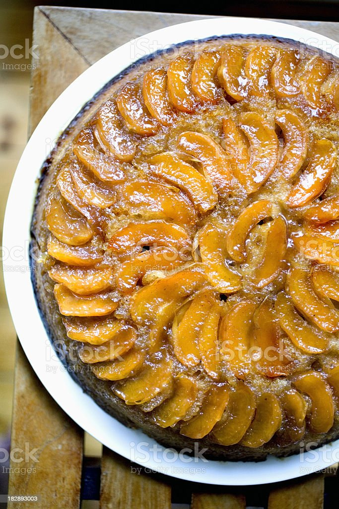 Fresh apricot upside-down cake stock photo
