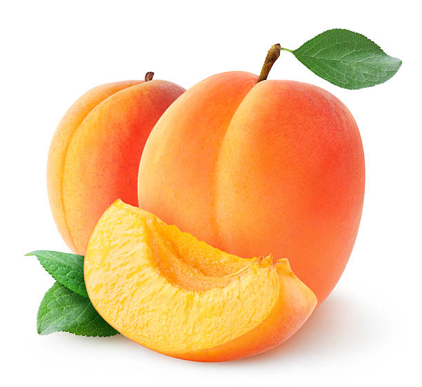Fresh apricots isolated on white stock photo