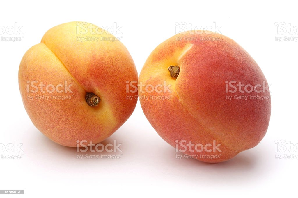 Fresh Apricots on White Background stock photo
