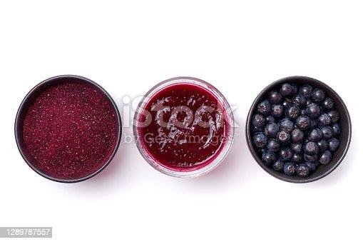 istock Fresh Aronia berries, powder and jam 1289787557
