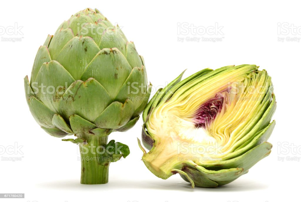 Fresh Artichokes isolated on white background stock photo