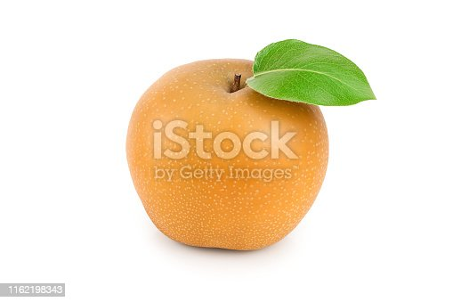 Fresh asian pear with leaf isolated on white background.