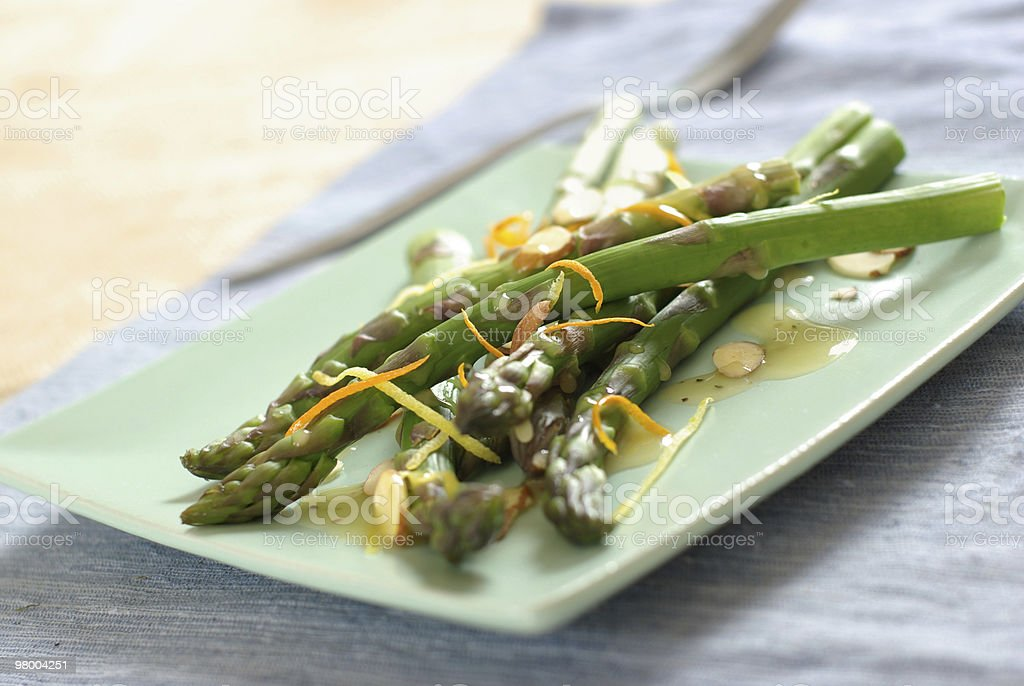 Fresh Asparagus Almondine royalty-free stock photo