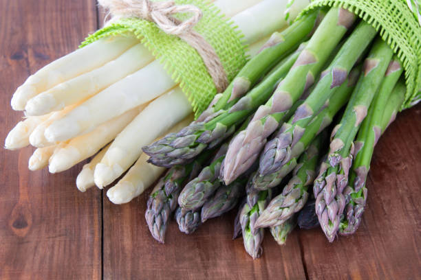 Fresh asparagus green and white stock photo