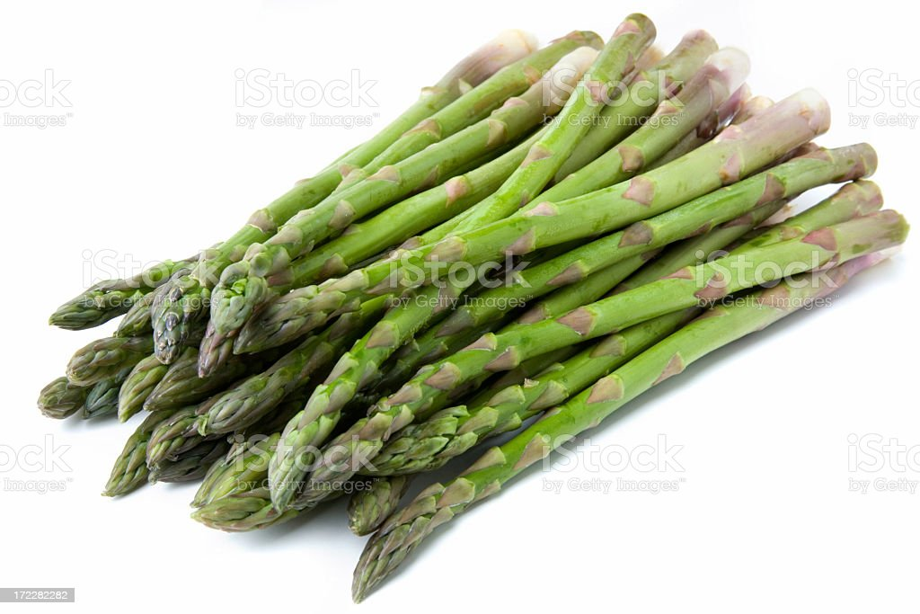 Fresh asparagus on a white background stock photo
