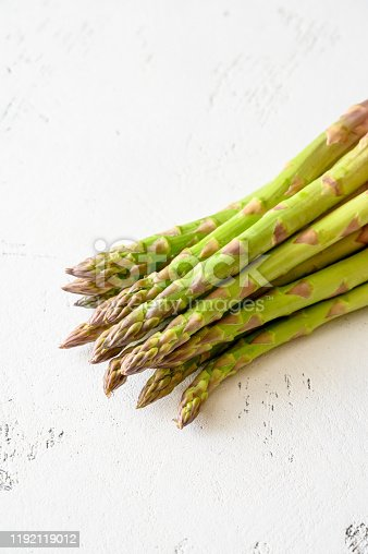 Bunch of fresh asparagus on the plate
