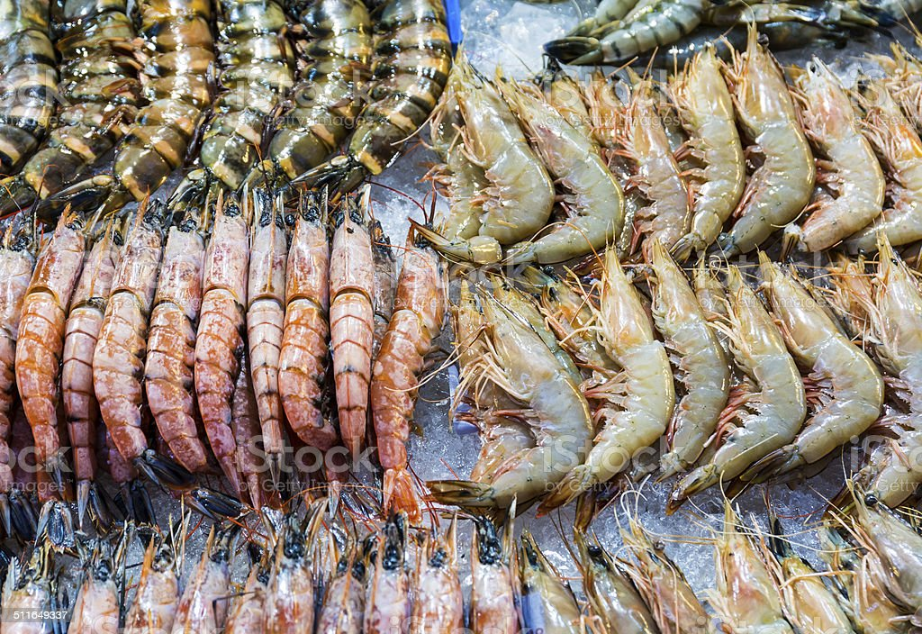 Fresh assorted prawn stock photo