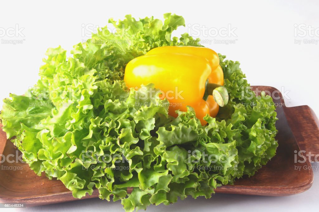 Fresh assorted vegetables with leaf lettuce. Isolated on white background. Selective focus. royalty-free stock photo