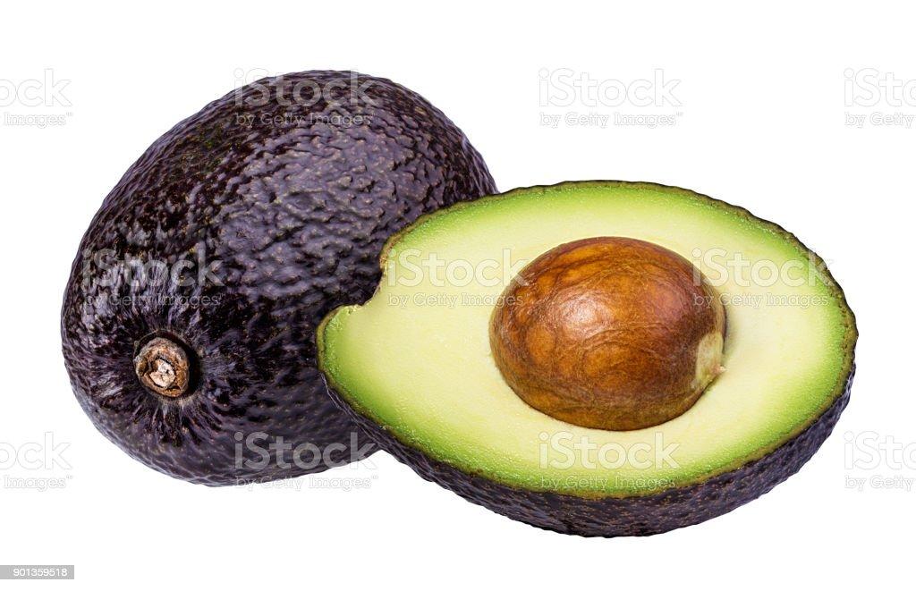 Fresh avocado fruits  isolated on white background stock photo