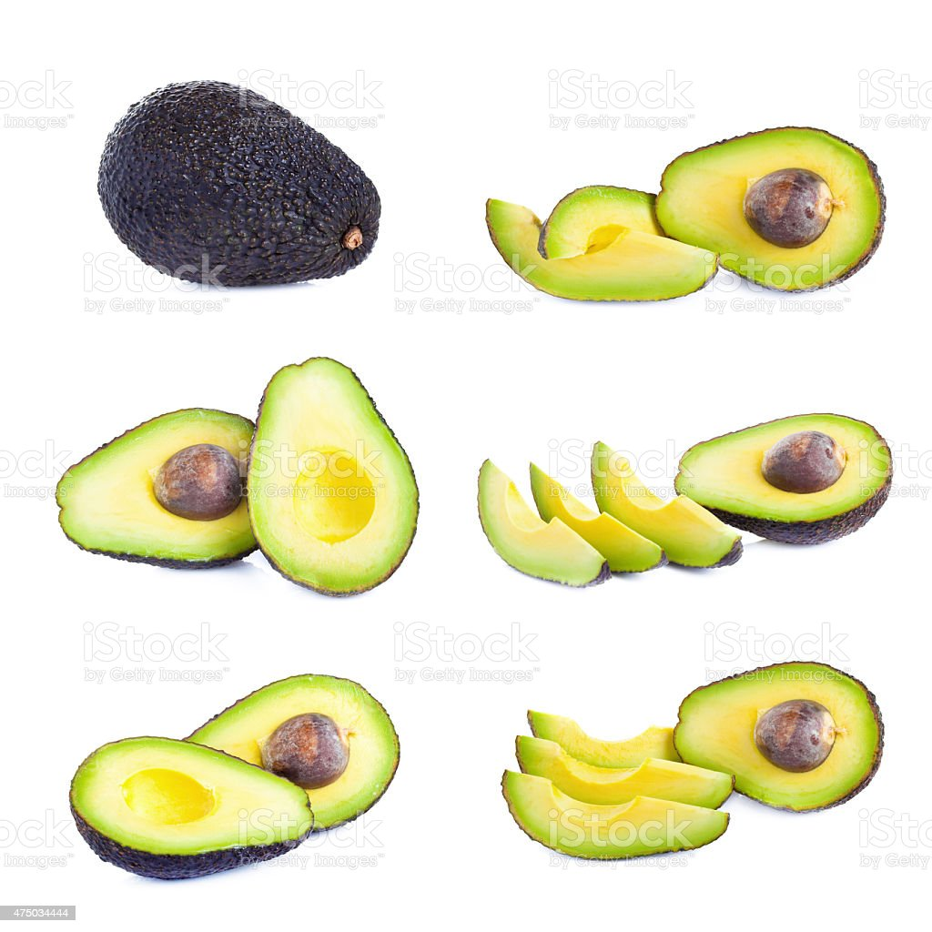 Fresh avocado isolated on white stock photo