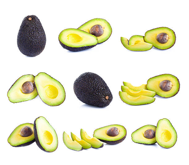 Fresh avocado isolated on white stock photo