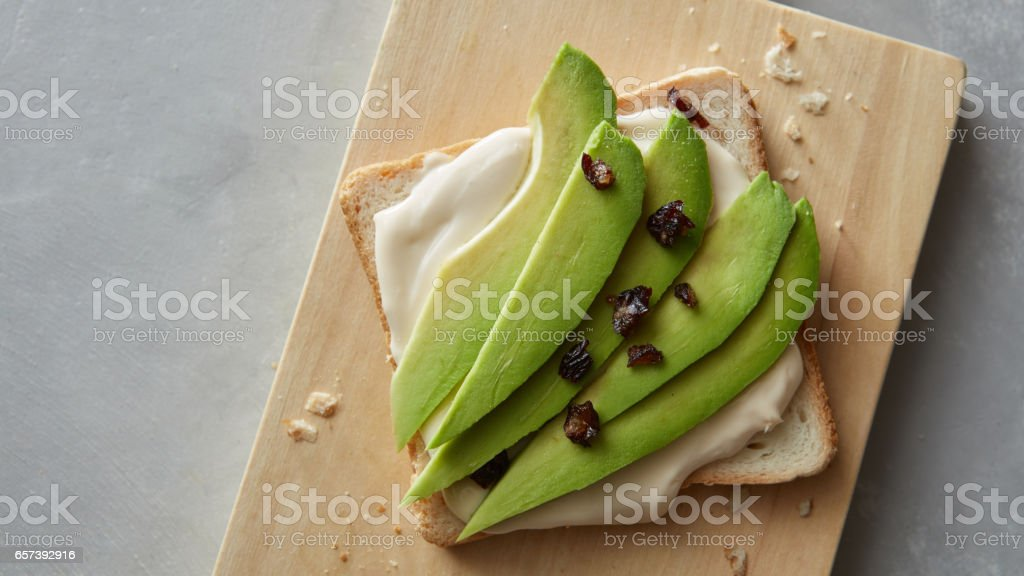 fresh avocado sandwich stock photo