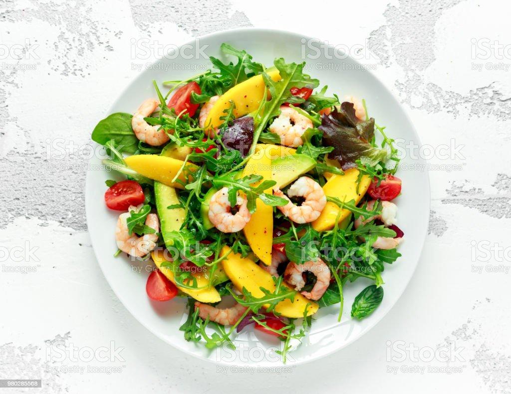 Fresh Avocado Shrimps Mango Salad With Lettuce Green Mix Cherry
