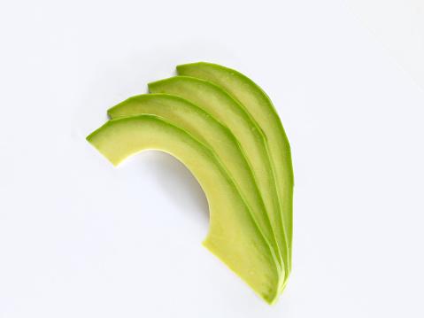 fresh avocado sliceson white background