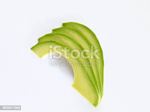 fresh avocado sliceson white background