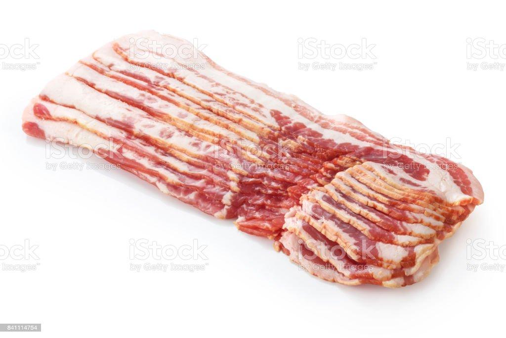 Fresh bacon strips isolated on white background stock photo
