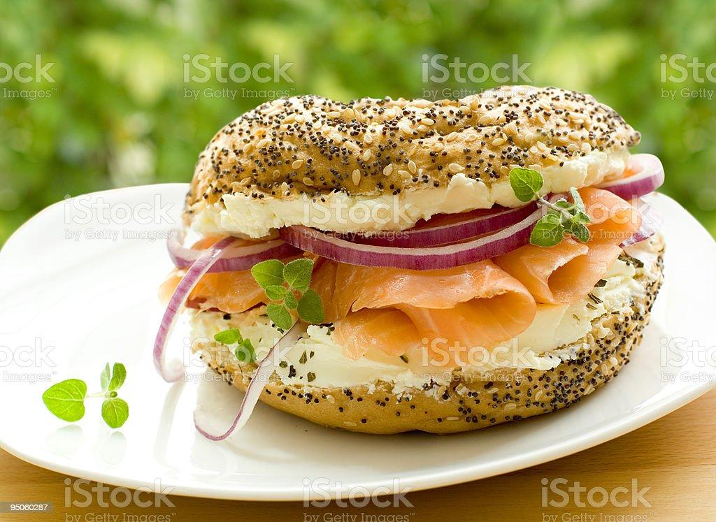 fresh bagel with salmon stock photo
