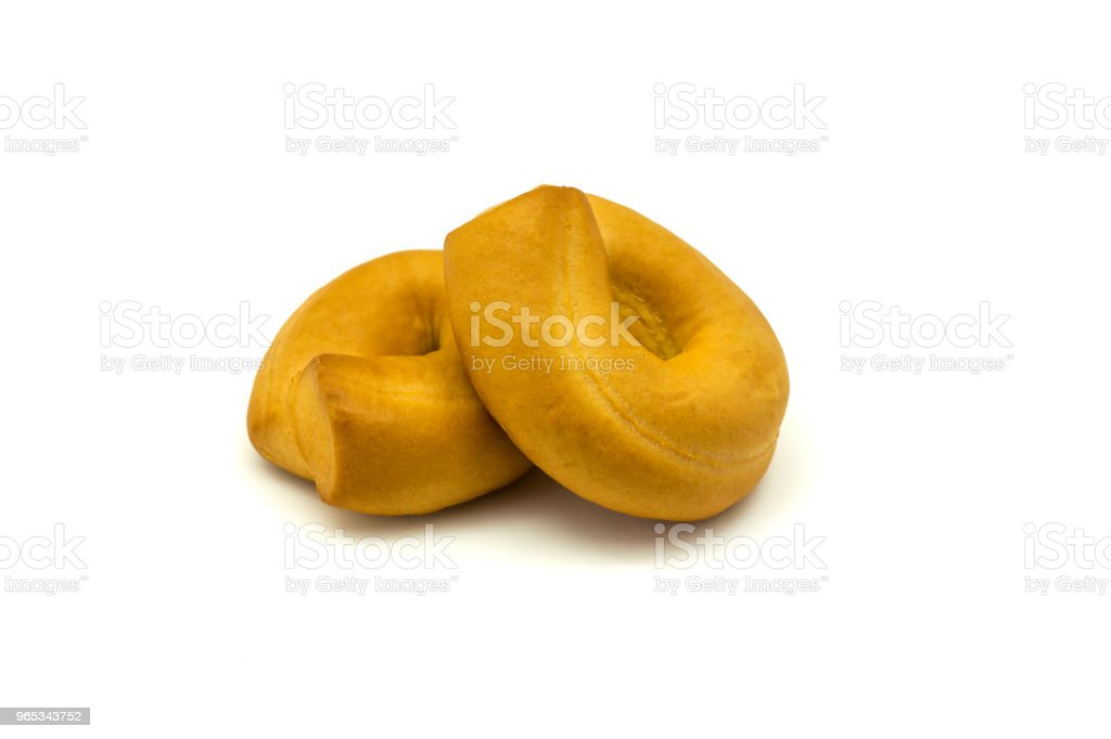 Fresh bagels cookies on white background, close up, isolated zbiór zdjęć royalty-free