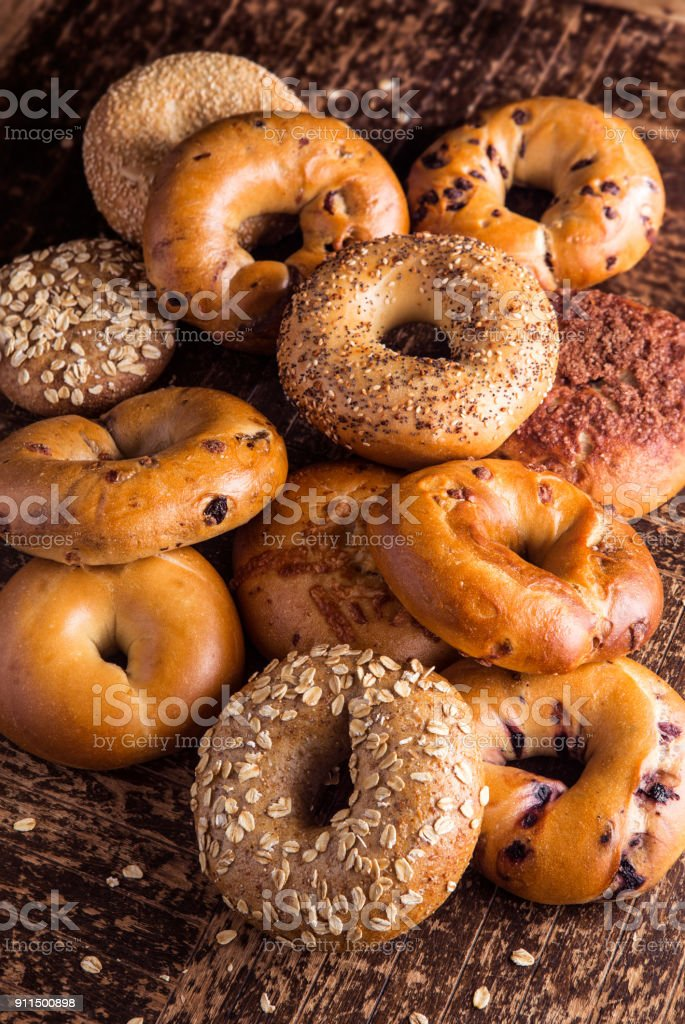 Fresh Bagels stock photo