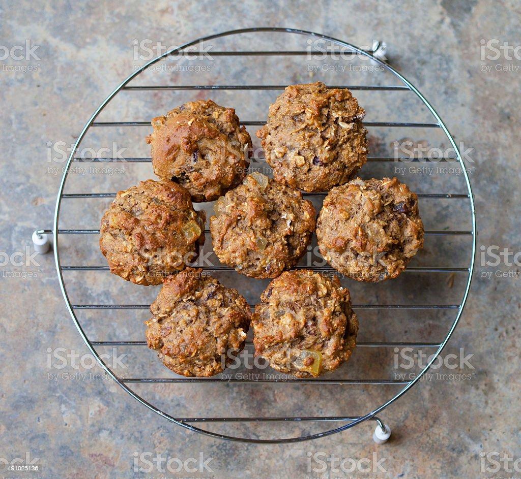 Fresh Baked Bran Muffins stock photo