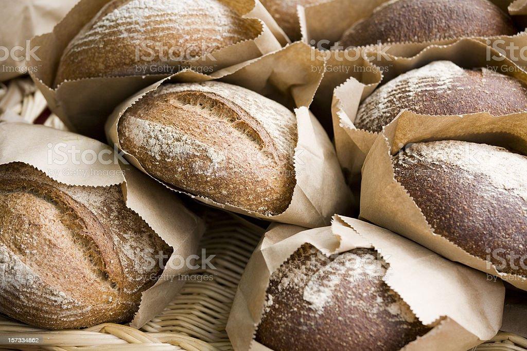 Fresh baked bread at farmers market stock photo