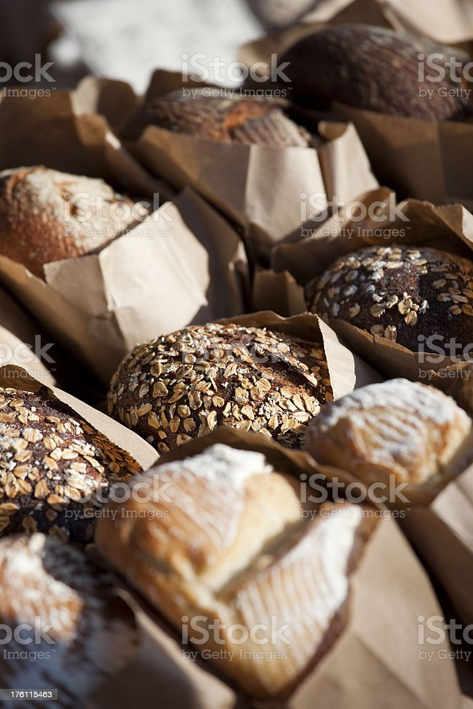 Fresh baked bread at farmers market royalty-free stock photo