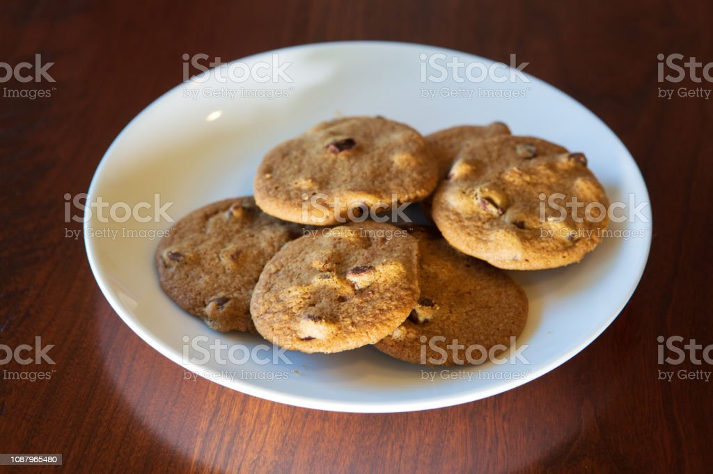 Fresh baked chocolate chip cookies stock photo