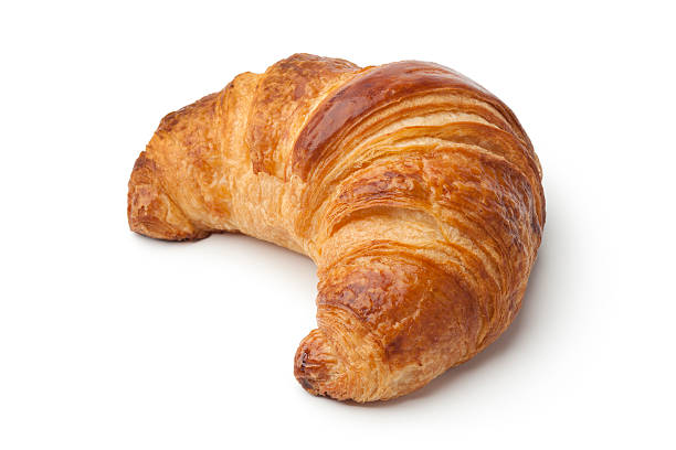 Fresh baked croissant Single fresh baked croissant on white background croissant stock pictures, royalty-free photos & images